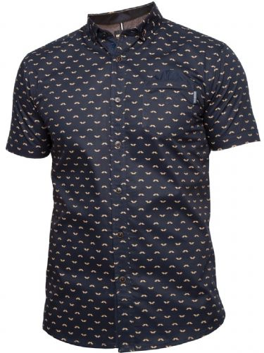 MISH MASH NEW DESIGNER NAVY MOUSTACHE SHORT SLEEVE BUTTONED CASUAL SHIRT